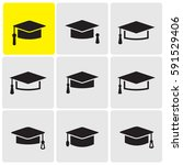 graduation caps icons | Shutterstock .eps vector #591529406