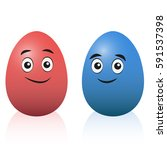 easter eggs   red and blue... | Shutterstock .eps vector #591537398