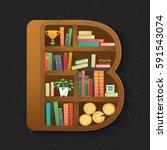 bookshelf in isometry style... | Shutterstock .eps vector #591543074