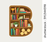 bookshelf print with colorful... | Shutterstock .eps vector #591544598