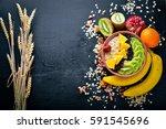 healthy food  porridge with... | Shutterstock . vector #591545696