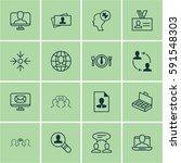set of 16 business management... | Shutterstock . vector #591548303