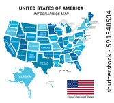 usa map with federal states... | Shutterstock .eps vector #591548534