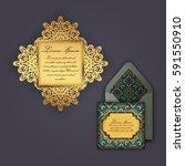 wedding invitation or greeting... | Shutterstock .eps vector #591550910