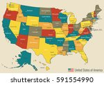 usa map with federal states.... | Shutterstock .eps vector #591554990