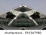 modern glass architecture with... | Shutterstock . vector #591567980