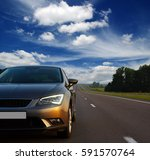 silver car and on the road | Shutterstock . vector #591570764