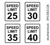 Us Speed Limit Sign Set 25   4...