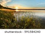Beautiful Lake In Sunset ...