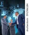 Small photo of Businesspeople shaking hands with each other agonist digitally generated background