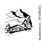 Mountain Cabin   Retro Clip Art
