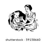 mother feeding baby   retro... | Shutterstock .eps vector #59158660