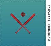 baseball simple flat button.... | Shutterstock . vector #591593528