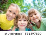 group of happy children playing ... | Shutterstock . vector #591597830