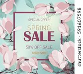 spring sale background with... | Shutterstock .eps vector #591607598
