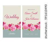 wedding invitation  thank you... | Shutterstock .eps vector #591610490