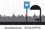 bus icon   bus stop background... | Shutterstock .eps vector #591619970