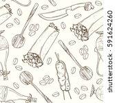 arabic food seamless pattern.... | Shutterstock .eps vector #591624260