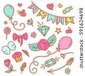 quirky fashion patches set with ... | Shutterstock .eps vector #591624698