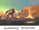 the giant robot launching... | Shutterstock . vector #591627044
