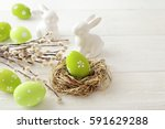 colorful easter eggs and spring ... | Shutterstock . vector #591629288