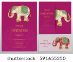 invitation card templates with... | Shutterstock .eps vector #591655250