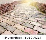 rock and curve pathway for... | Shutterstock . vector #591664214