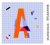vector letter a memphis style... | Shutterstock .eps vector #591664448