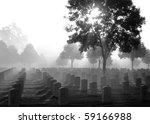 Cemetery On A Foggy Morning ...