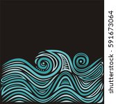 beautiful sea. vector... | Shutterstock .eps vector #591673064