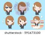 cute cartoon businesswoman do... | Shutterstock . vector #591673100