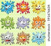 splash expression in the brick... | Shutterstock .eps vector #591676634
