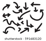 doodle arrows in thick lines.... | Shutterstock .eps vector #591683120