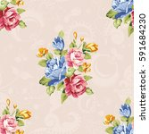 seamless floral pattern with... | Shutterstock .eps vector #591684230