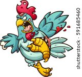 angry zombie chicken. vector... | Shutterstock .eps vector #591685460