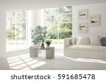white room with sofa and green... | Shutterstock . vector #591685478