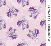 seamless floral pattern with... | Shutterstock .eps vector #591696764