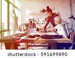 fashion designer brainstorming... | Shutterstock . vector #591699890