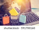 retail paper shopping bags or... | Shutterstock . vector #591700160