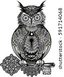 tattoo owl and key | Shutterstock .eps vector #591714068