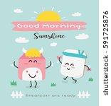 vector cute funny cartoon milk... | Shutterstock .eps vector #591725876