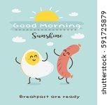 vector cute funny cartoon egg... | Shutterstock .eps vector #591725879