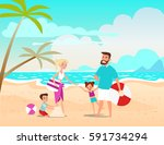 the cheerful family taking a... | Shutterstock .eps vector #591734294