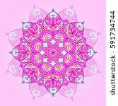 ethnic round mandala with... | Shutterstock .eps vector #591734744