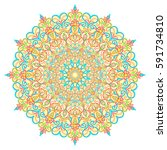 round abstract doodle mandala.... | Shutterstock .eps vector #591734810