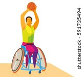 disabled athlete playing...   Shutterstock .eps vector #591735494