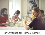 lunch with friends | Shutterstock . vector #591743984