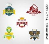 badminton logo design vector. | Shutterstock .eps vector #591744320