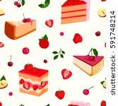 homemade organic berry pie... | Shutterstock .eps vector #591748214