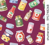 collection of various tins... | Shutterstock .eps vector #591748268
